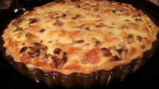Какой лук обычно запекают вместе с козьим сыром в классическом французском блюде «киш лорен»