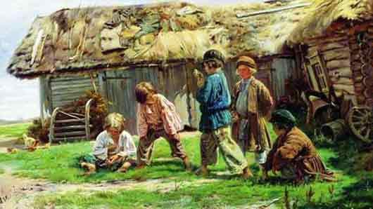 Народная игра, запечатленная на картине Владимира Маковского