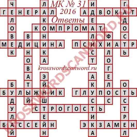 Ответы на Московский кроссворд номер 31, 2016 (от 03. 08. 2016)