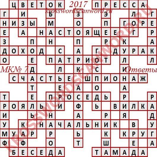Ответы на Московский кроссворд номер 7, 2017 (15 02 2017)