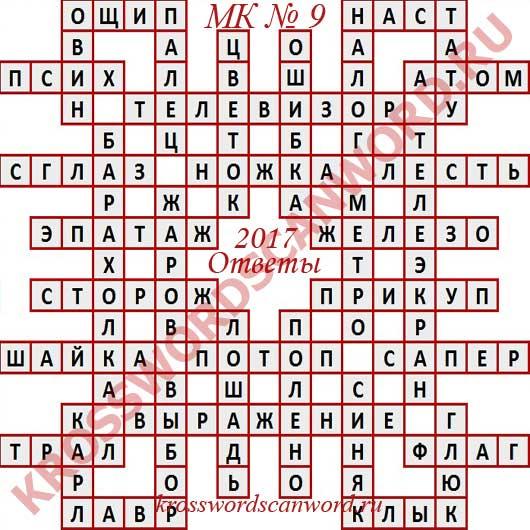 Ответы на Московский кроссворд номер 9 2017 (1 03 2017)