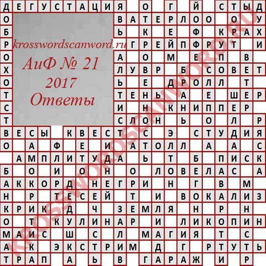 Ответы на кроссворд из Аргументы и Факты 21 2017 (24 05 2017)