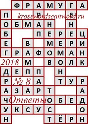 Ответы на сканворд из АиФ 8 2018 (21 02 2018)