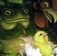 Чудище из насиженного жабой яйца (8 букв)