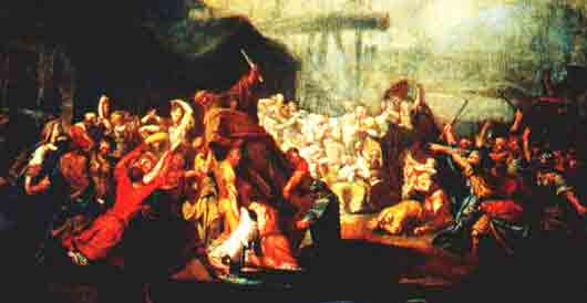 Какого бога «ниспровергают» новгородцы на картине Ивана Акимова