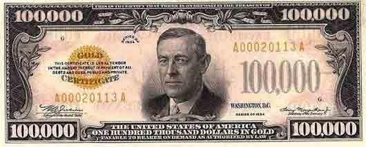 Президент с купюры достоинством в 100 000 долларов