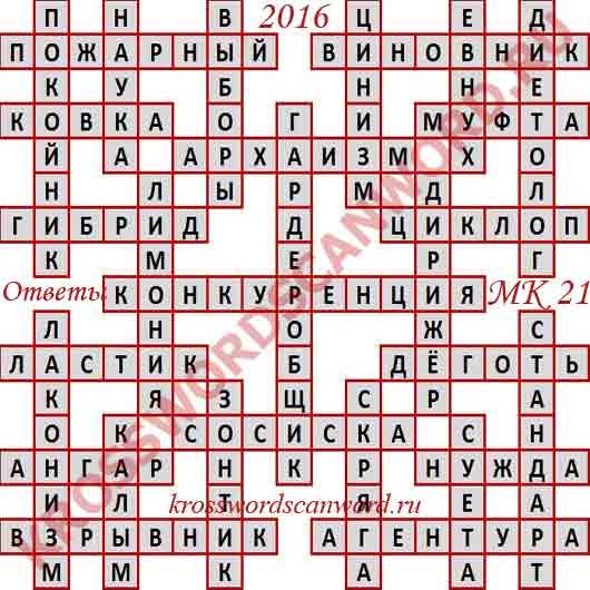 Ответы на Московский кроссворд номер 21, 2016 (от 25. 05. 2016)