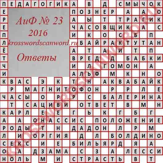 Ответы на кроссворд из Аргументы и Факты 23 2016 (08 06 2016)