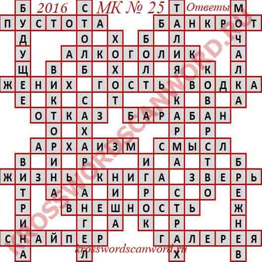 Ответы на Московский кроссворд 25 2016