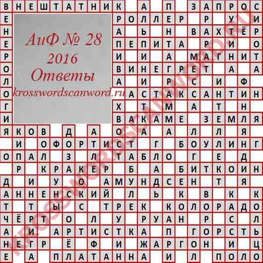 Ответы на кроссворд из Аргументы и Факты 28 2016 (13 07 2016)
