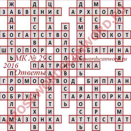 Ответы на Московский кроссворд номер 28, 2016 (от 20. 07. 2016)