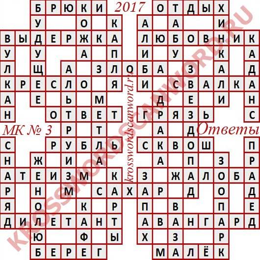 Ответы на Московский кроссворд номер 3, 2017 (от 18 01 2017)