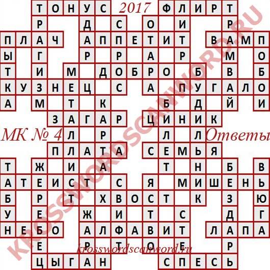 Ответы на Московский кроссворд номер 4, 2017 (от 25 01 2017)