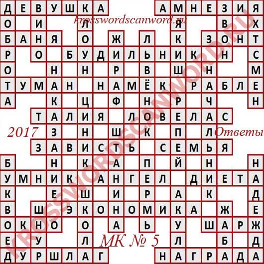 Ответы на Московский кроссворд номер 5, 2017 (от 01 02 2017)