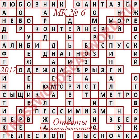 Ответы на Московский кроссворд номер 6, 2017 (8 02 2017)