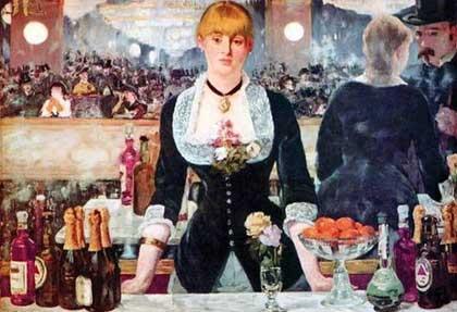 """Где художник Эдуард Мане поставил автограф и дату на своей картине """"Бар в """"Фоли-Бержер"""""""""""