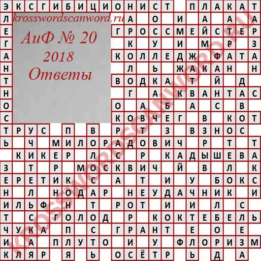 Ответы на кроссворд АиФ 20 2018