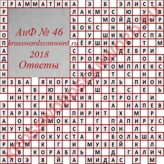 Ответы на кроссворд из Аргументы и Факты 46 2018 (14 11 2018)