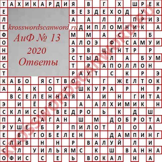 Ответы на кроссворд АиФ 13 2020