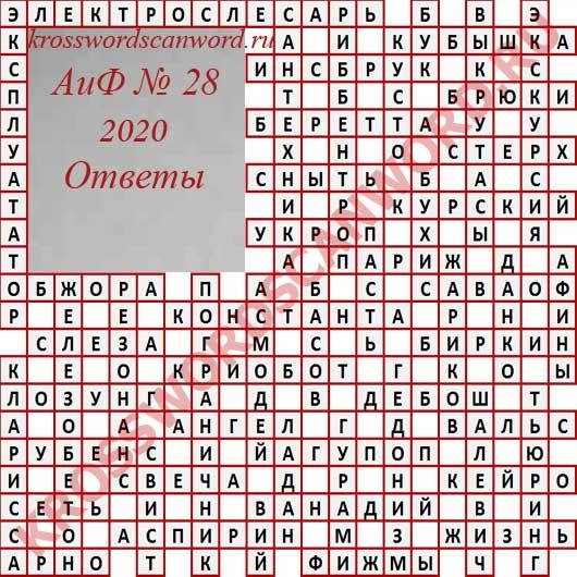 Ответы на кроссворд АиФ 28 2020