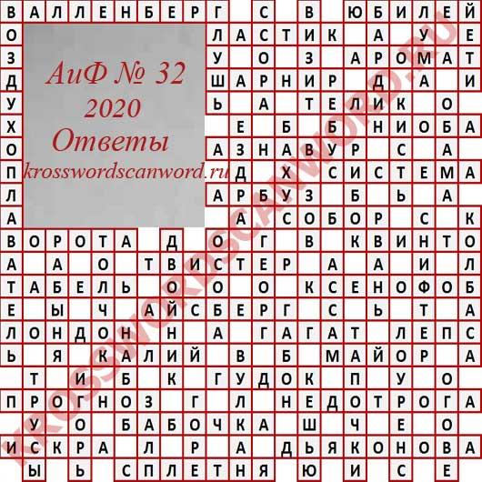 Ответы на кроссворд АиФ 32 2020