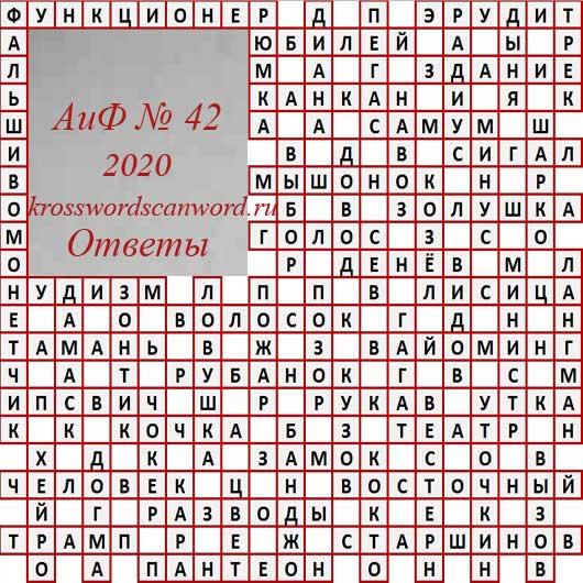 Ответы на кроссворд АиФ 42 2020