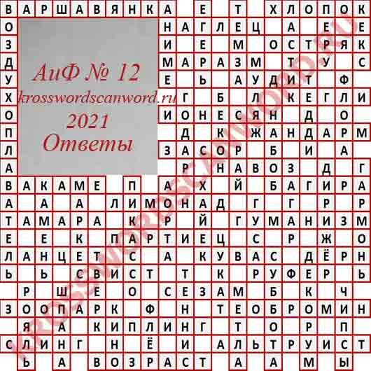 Кроссворд Ответы на кроссворд АиФ 12 2021