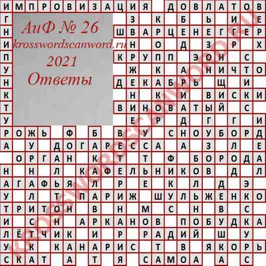 Ответы на кроссворд АиФ 26 2021