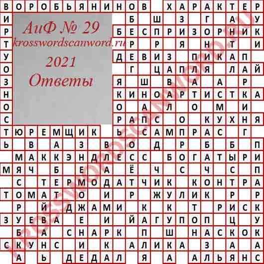 Ответы на кроссворд АиФ 29 2021