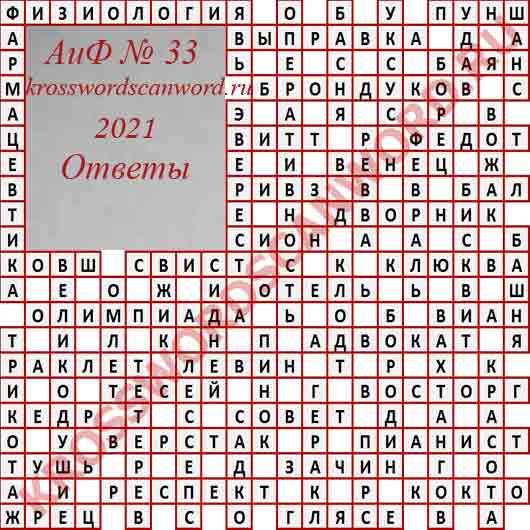 Ответы на кроссворд АиФ 33 2021