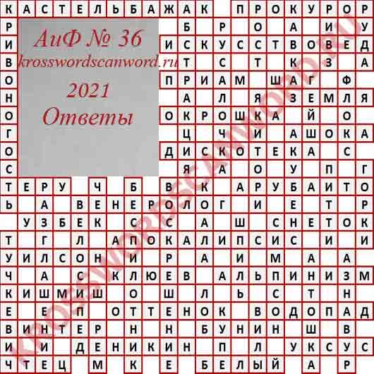Ответы на кроссворд АиФ 36 2021